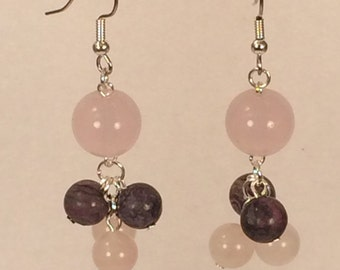 Pink and Purple Cluster Earrings