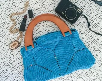 Turquoise blue Boho crochet handbag with wooden handles. Handmade vintage inspired handbag. Flower crochet purse.