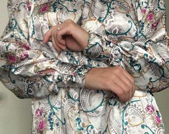 Worthington 80s Vintage Womens Petite 8 Floral Blouse Top