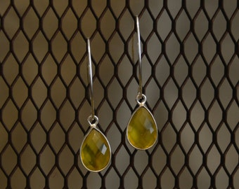 Sterling silver and yellow chalcedony earrings