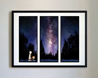 Calvin and Hobbes #101 - Night Sky - Nursery Art Print, Decor, Poster, Picture, Childrens Art, Kids Room, Space