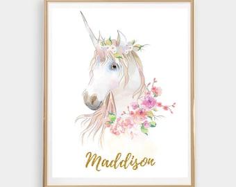 Custom Name Print Personalized Name Unicorn Printable Wall Art Girls Room Nursery Print Great Gift Idea Christmas Gift
