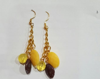 Sunny Yellow & Brown Earrings #1007