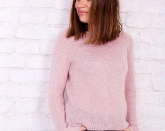 Mohair sweater Pink women sweater Hand knit sweater in pink color Fashion knit sweater Kid mohair women sweater Knitted chunky wool sweater