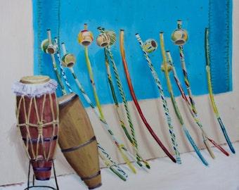 Berimbau Atabaque Street Vendor Painting, Capoeira Wall Art, Brazilian Themed Giclee