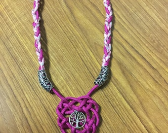 Pink and Grey Tree of Life Knot necklace
