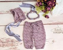 Newborn Girl upcycled Photography prop Floral print Chiffon Pants, Bonnet & matching headband Set