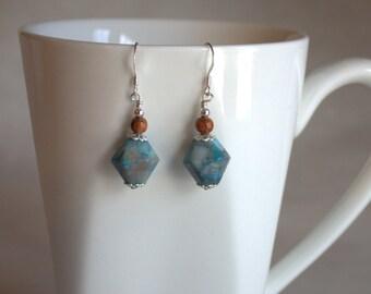 Blue/brown gemstone, bicone/latern, silver, dangle earring