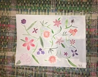 9x12 Watercolor Flowers