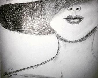 Lady in a hat- Art Print