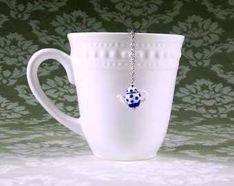 Blue teapot tea infuser Cute navy blue tea pot charm Tea stocking stuffer Tea strainer Mesh ball Blue polka dot Tea lover gift Loose tea