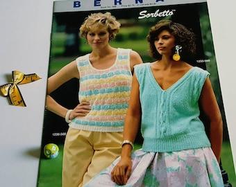 1985 Bernat Sorbetto Sweaters Knitting Pattern Book