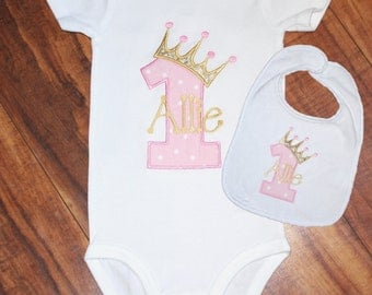 First Birthday Number one Birthday Crown Girl Birthday Shirt Birthday crown number one Personalized first birthday girl's first birthday