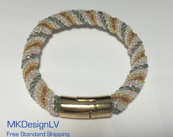 Cellini Spiral Seed Bead and Firepolish Bracelet