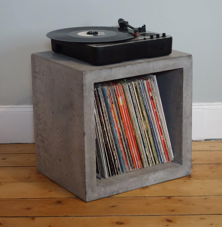 solid concrete storage cube for lp vinyl record. Black Bedroom Furniture Sets. Home Design Ideas