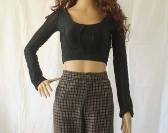 90s Black Mesh Long Sleeve Cropped Top S