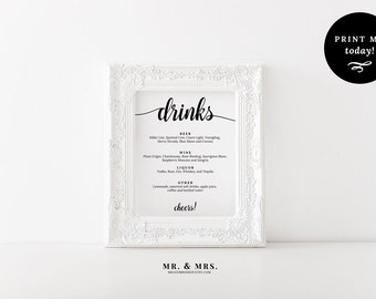 Drinks Menu Sign, Bar Sign, Cheers Sign, Printable Wedding Sign Template, Reception Sign, Calligraphy, PDF, Wedding Printable, MAM202_12