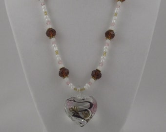Glass Blown Heart Beaded Necklace