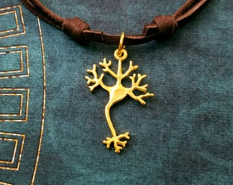 Neuron Necklace Brain Cell Necklace Nerve Cell Molecule Charm Necklace Leather Necklace Brown Cord Necklace Men's Jewelry Boyfriend Necklace