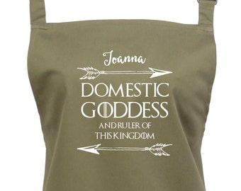 """Personalized Womens Game of Thrones Apron """"Domestic Goddess & Ruler of This Kingdom""""  , TS1072"""