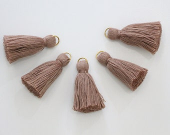 5 Mini Tassel Cotton Threads With Gold Ring DIY Jewelry Making