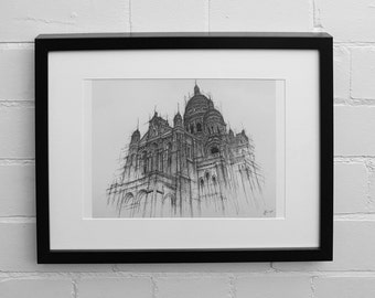 Sacre Coeur Print,  Paris Art Print, City Landmarks, Paris Skyline, Paris Wall Art, Paris Decor, Architecture, Wall Art Print, Drawing Print