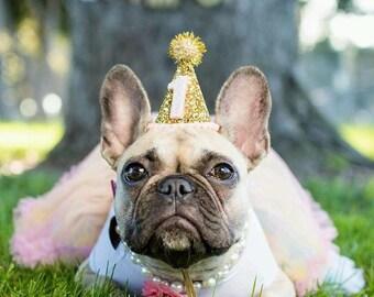 Dog Party Hat || Animal Birthday Party Hat || Pet Cat Kitty Dog Puppy Pig Birthday Party || Gold Glitter