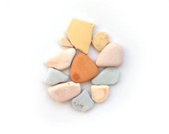 COLOURFUL SEA POTTERY set genuine surf tumbled uk english seapottery pastel pink blue peach yellow ocean mosaic tiles vintage rustic supply