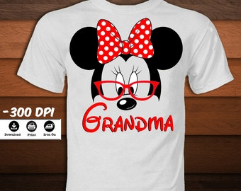 Minnie Mouse Grandma Shirt-Minnie Mouse Iron on Transfer T-Shirt-Disney Mickey mouse party decoration t-shirt-INSTANT DIGITAL DOWNLOAD