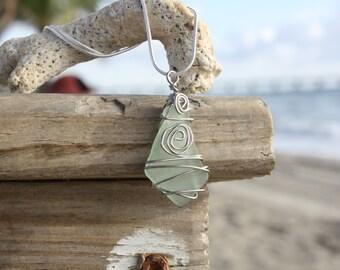 Sea Foam Green sea glass pendant