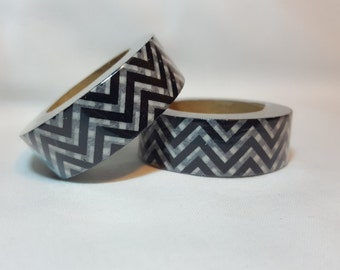 Washi Tape/ Craft Tape- Black & White Chevron
