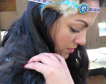 Feather Headband, Bohemian Feather Headband, Hippie Headband, Hair Jewelry, Boho Headpiece, Native American Hair Accessories, Indian Feather