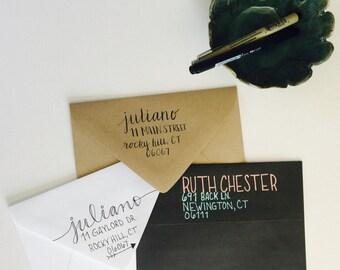 Hand Lettered Return Addressing on Envelopes, Custom Envelope Return Addressing; Hand Lettering; Envelopes; Script Envelopes; Wedding, Event