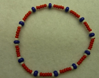 Red, white and blue Beads Bracelet