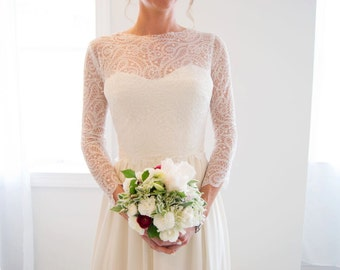Unique French Lace Long Sleeve Bridal Topper