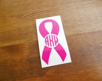 Awareness Ribbon Initial Monogram Vinyl Decal // Choose Your Color, Size, and Initials