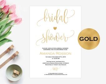 Bridal shower gold invitations - Printable Wedding Shower Invitations -Wedding Invitation - Printable Wedding Invitations - PDF #WDH0094