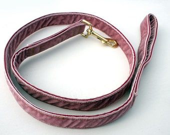 Luxury Velvet Lead! Luxurious Dusky Pink!...All dogs and breeds...strong and durable Match up with our luxury collars!