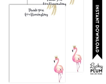Flamingo Thank You Cards / Pink Gold Thank You Cards / Watercolor Thank You Cards / DIY Printable FG02
