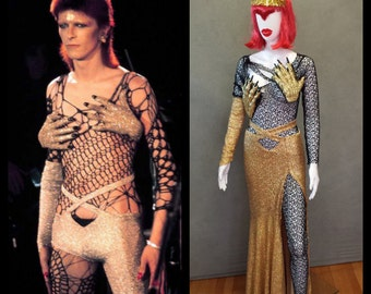 ONE OF A KIND Ready to Ship David Bowie / Ziggy Stardust Inspired Monster Hands Bodysuit and Gold Sequin Skirt size xs
