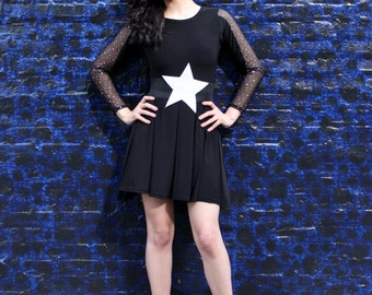 MADE TO ORDER Black Jersey Long Sleeve with Mesh Insert Open Keyhole Back Dress and White Star Belt
