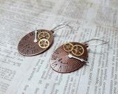 Steampunk Clock & Gear Earrings, Gifts for Her, Clock Earrings, Gear Jewelry, Neo-Victorian Earrings, Cosplay Jewelry