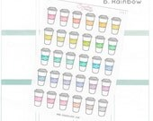 30 classic coffee planner stickers, hand lettering, color options, coffee cup, to go, latte, cappucino, cafe, hand drawn, Erin Condren CFE3