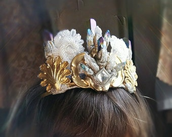 SALE Mermaid Crystal Crown One Of A Kind ready to ship boho genuine mystic quartz crystals and hand sculpted with vintage brass and glass