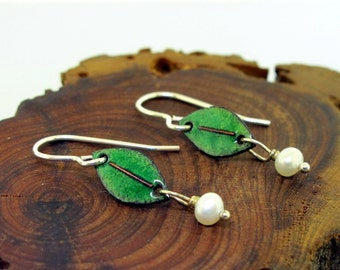 Leaves with Pearls  - enamel earrings by Kathryn Riechert