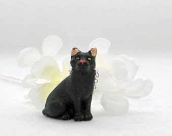 Black Cat Pendant Kitty Necklace Knight - Cat Necklace - White Kitty Cat - Cat Jewelry