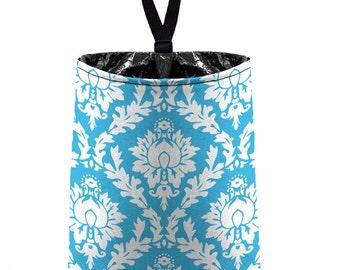 Car Trash Bag // Auto Trash Bag // Car Accessories // Car Litter Bag // Car Garbage Bag - Aqua Blue Damask // Car Organizer