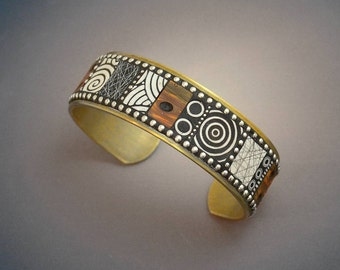 Mosaic Brass Cuff Bracelet with faux burl wood polymer clay inlay, Sterling Silver beads black and white patterns
