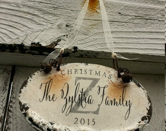 PERSONALIZED CHRISTMAS ORNAMENT, Family Name Ornament, Shabby Chic Christmas Ornament, Christmas Decor, Custom Ornament, Dated Ornament