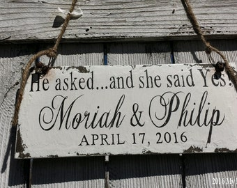 He Asked | She said Yes | Save The Date Sign | Were Engaged | Just Engaged | Engagement Photo Props | Future Mrs | Wedding Signs for Dogs